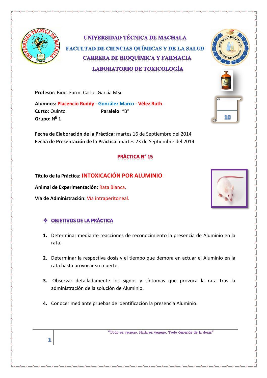 Práctica 15 : Intoxicación por Aluminio by Estefania Placencio ...