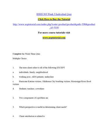 Week 3 quiz bshs 305