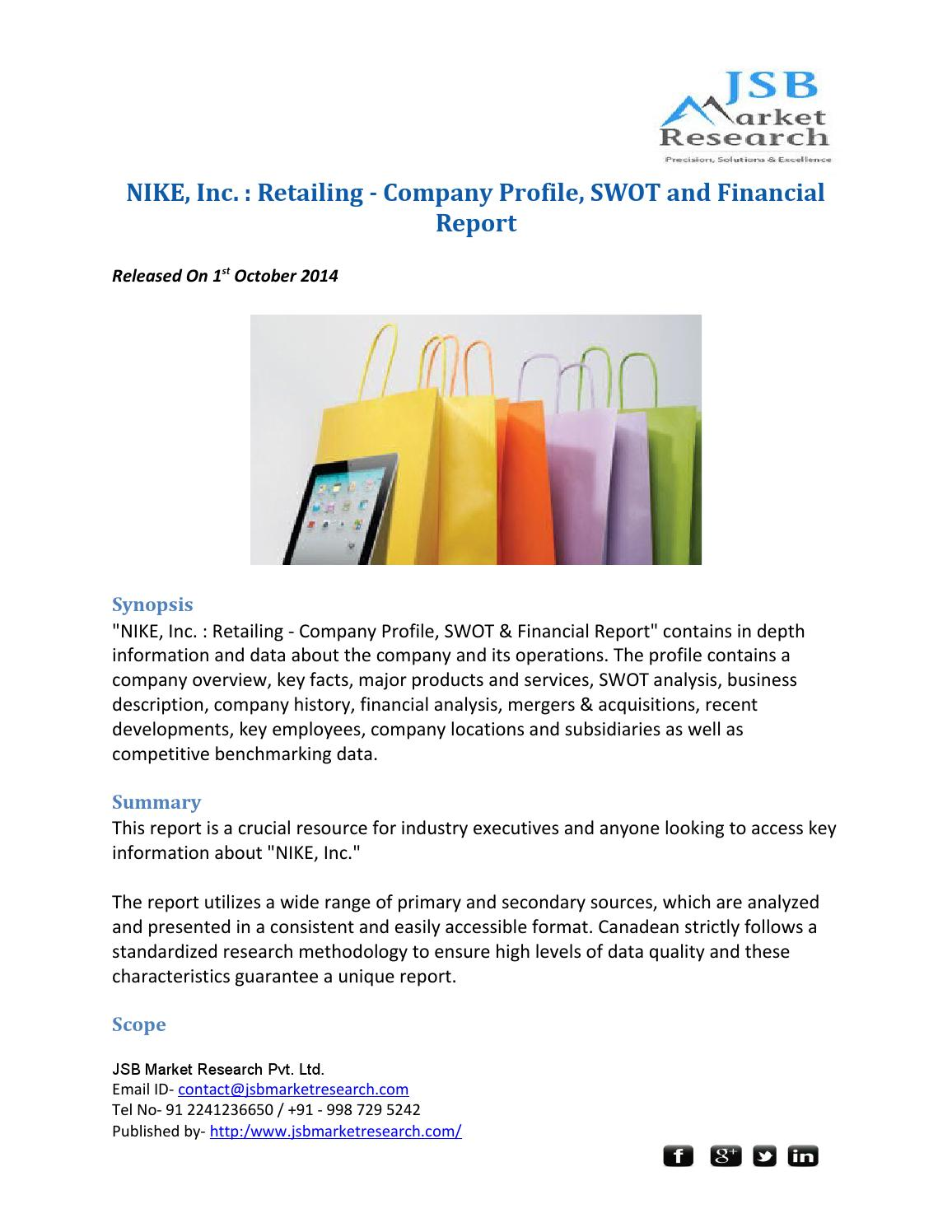 Cena Extraer Serpiente  JSB Market Research : NIKE, Inc. : Retailing - Company Profile, SWOT and  Financial Report by smithphillips - issuu