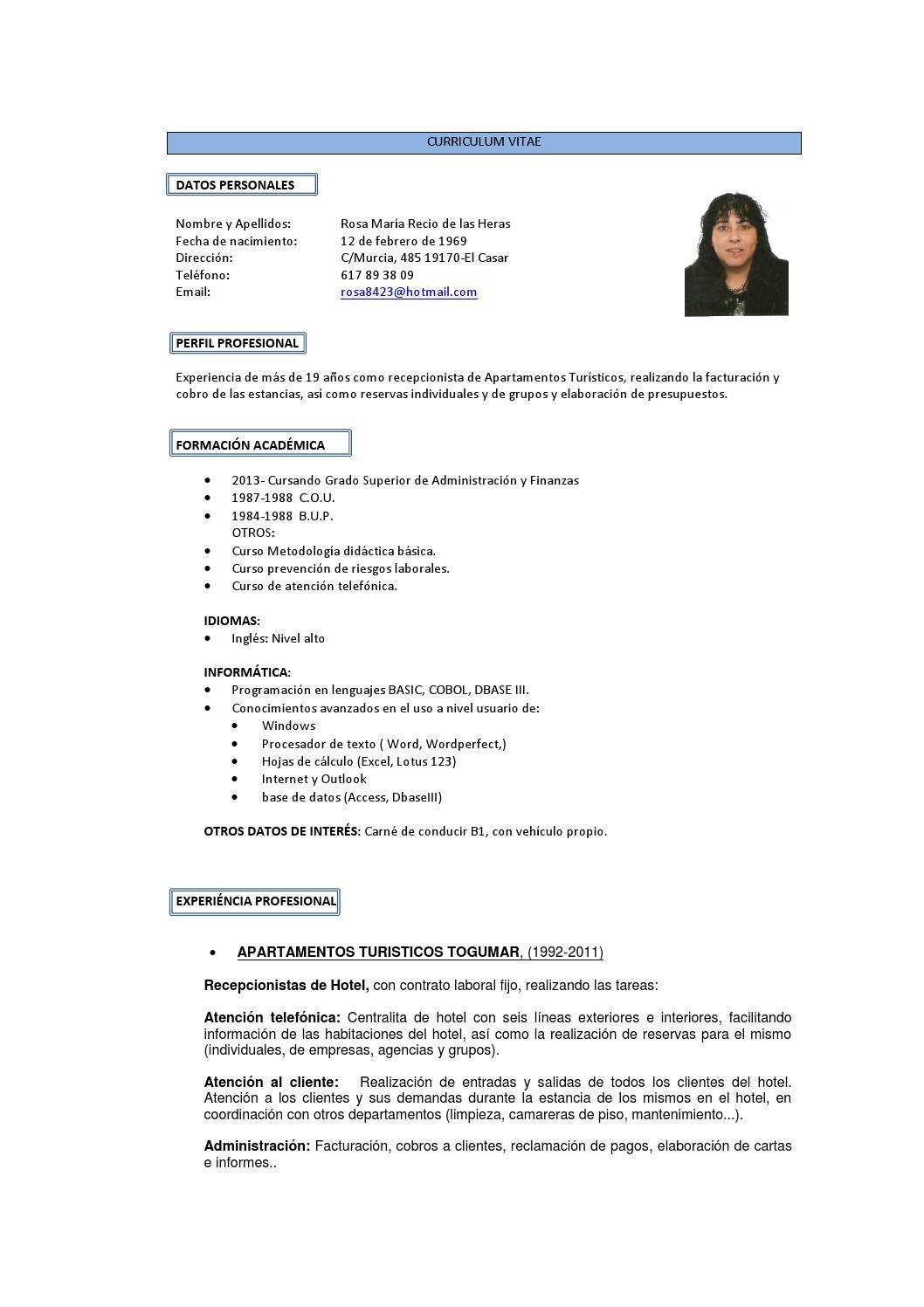 Curriculum Vitae Rosa Mª Recio By Startup001 Issuu