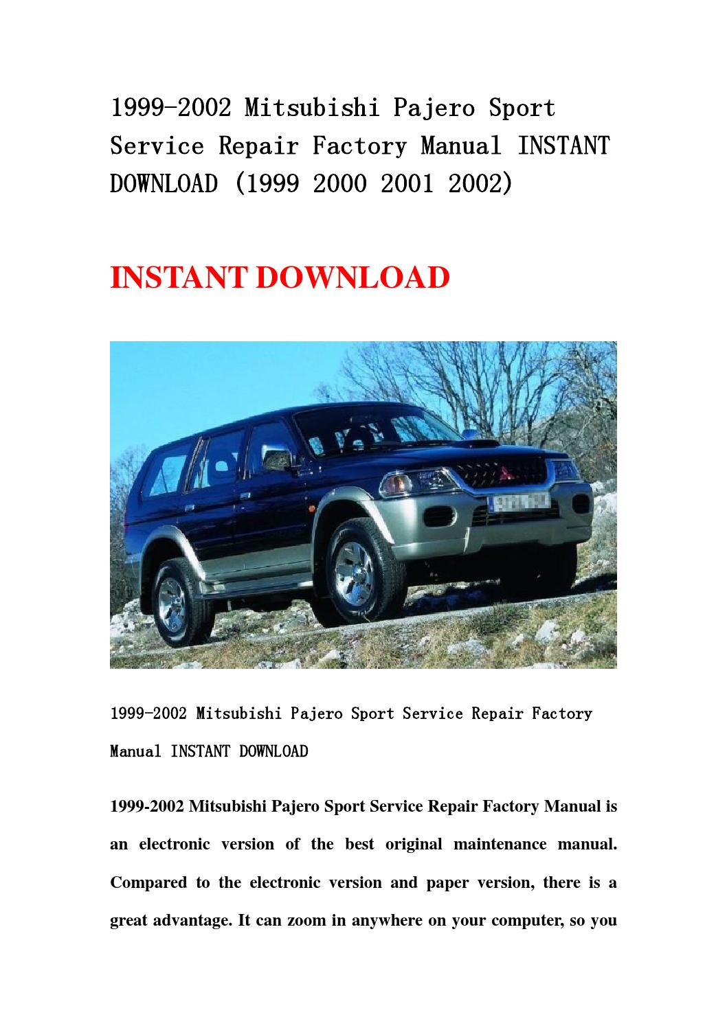 1999 2002 mitsubishi pajero sport service repair factory manual instant  download (1999 2000 2001 200 by hhsegfhnn - issuu