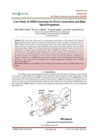 Case Study of MHD Generator for Power Generation and High Speed Propulsion