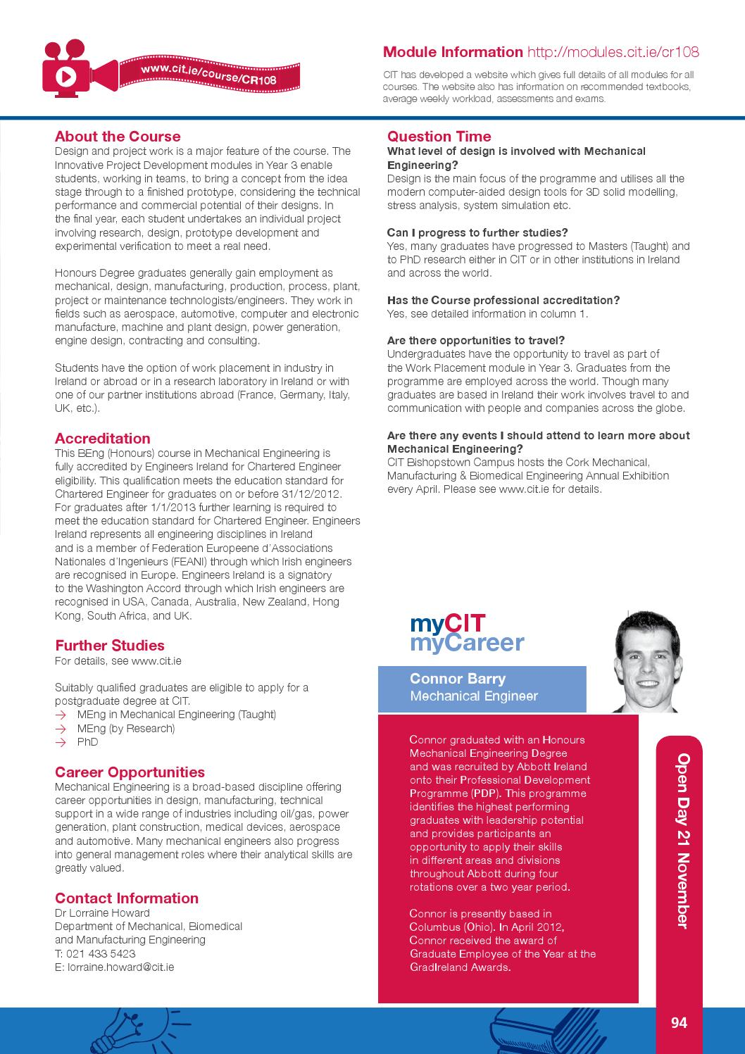 CIT Full-Time Handbook Entry 2015 by Cork Institute of