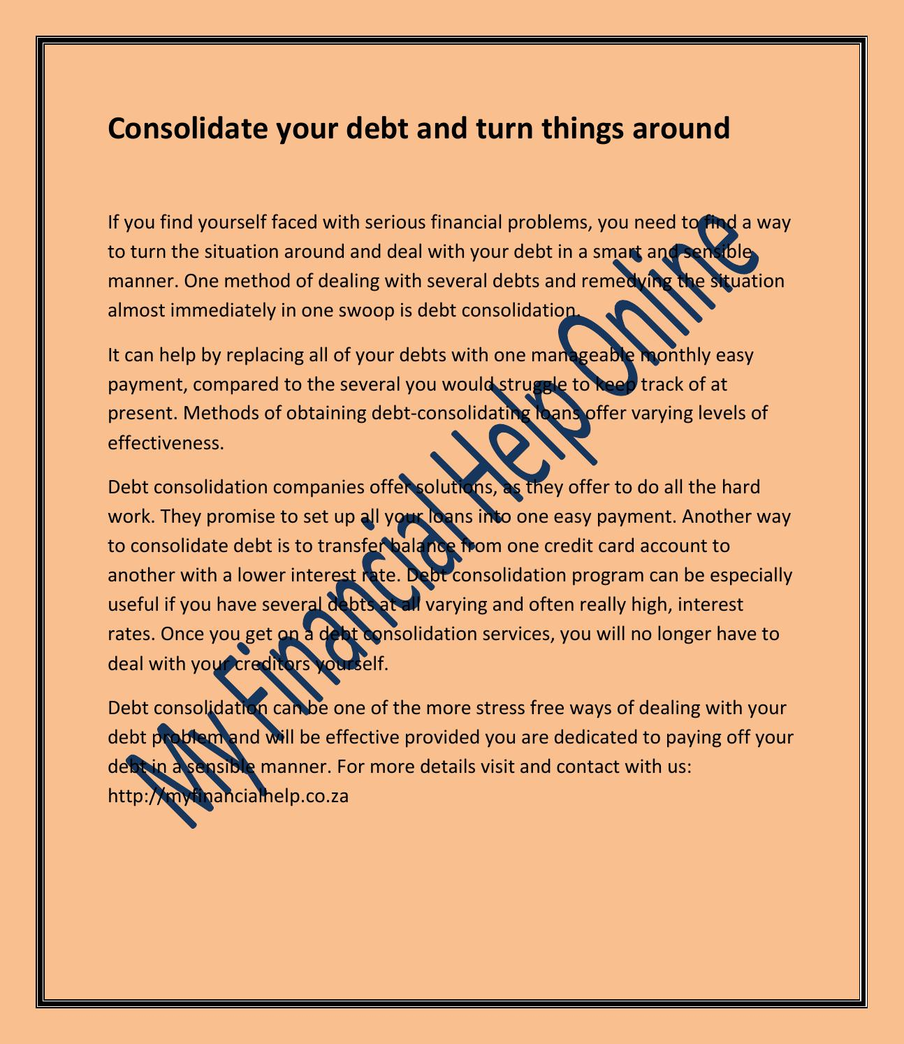 consolidate your debt | my financial help by eugene cilliers - issuu