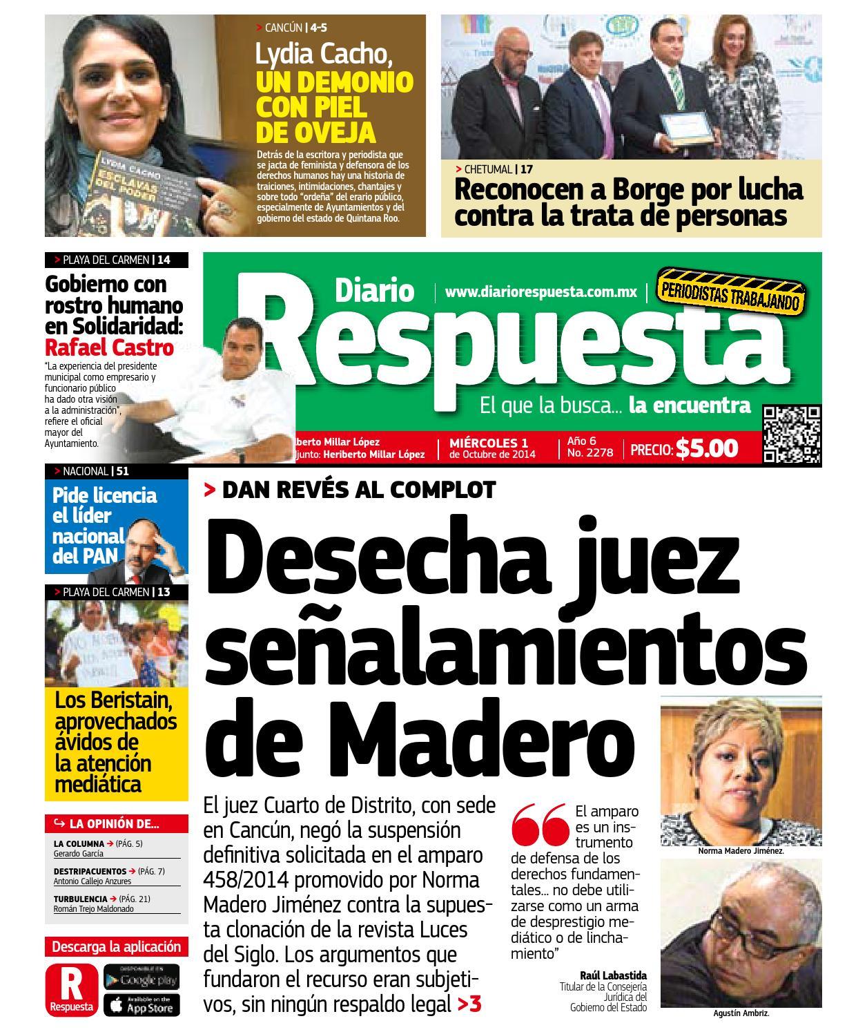 Respuesta 1 octubre 2014 by Diario Respuesta - issuu