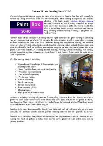 Picture Framing Soho – Paintboxsoho.com by PaintBox Soho - issuu