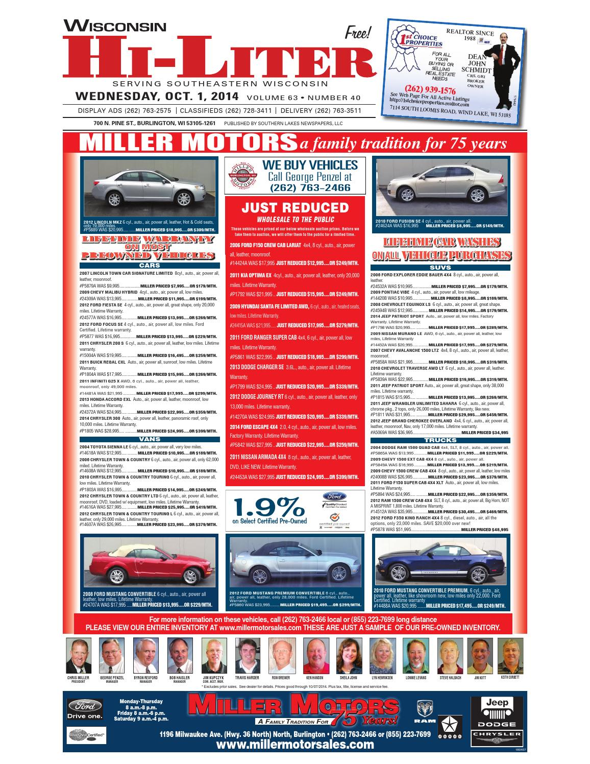 Miller Motors Burlington Wisconsin >> Wis hiliter 10'1'14 by Edward Nadolski - Issuu