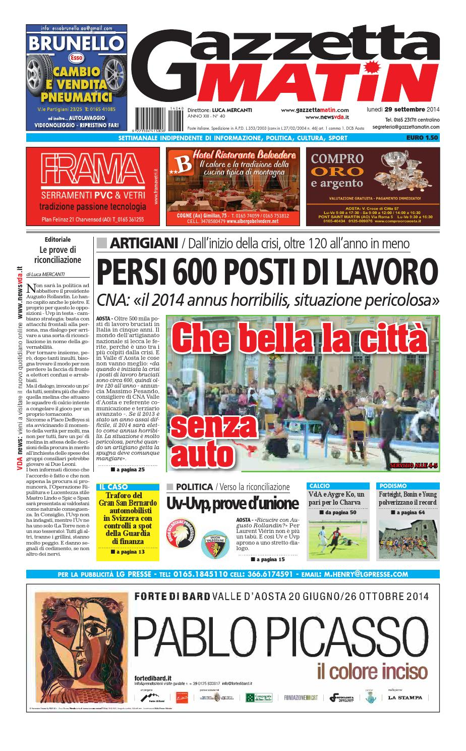 Gazzetta Matin del 29 settembre 2014 by NewsVDA - issuu b2fce8390dc