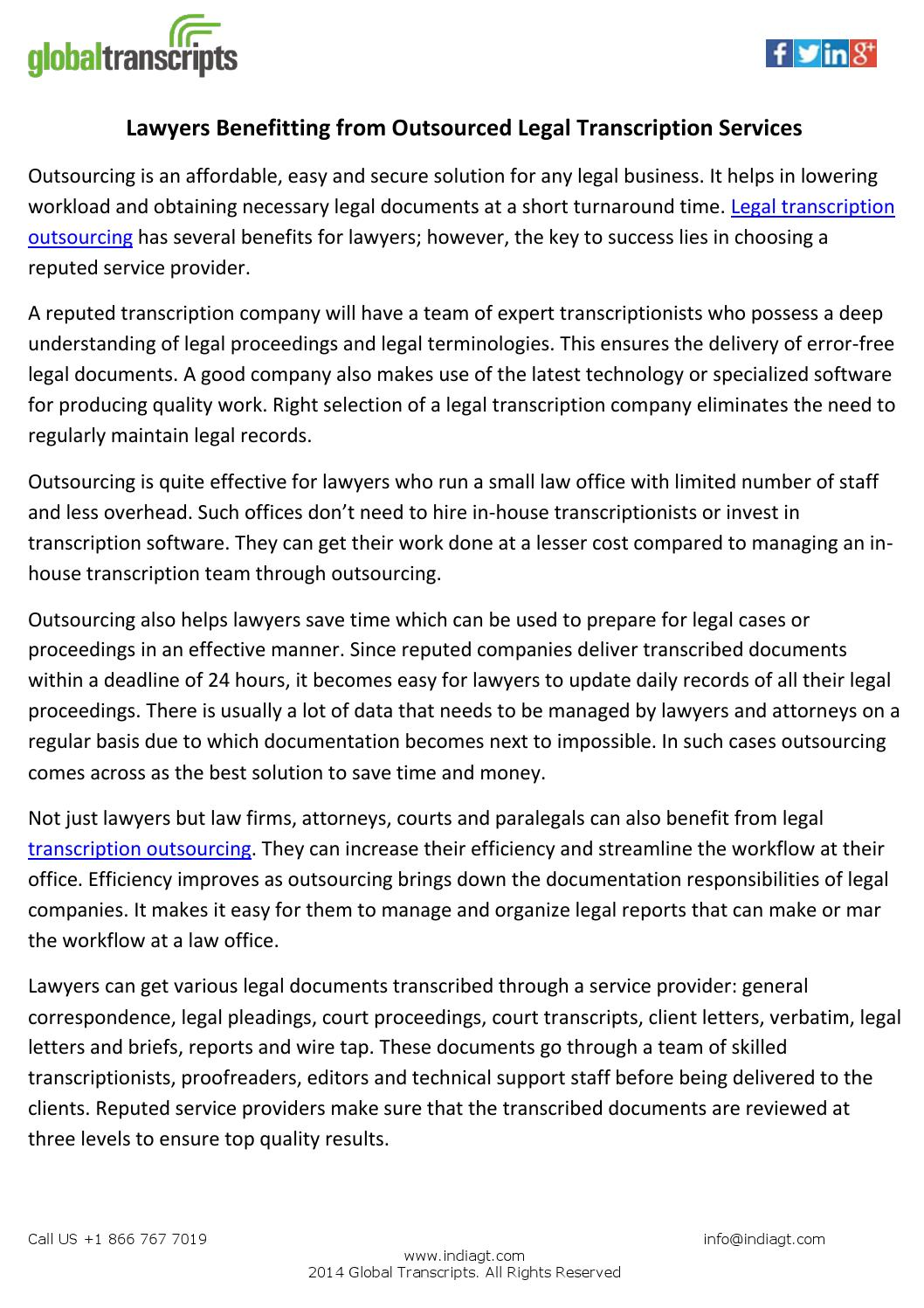 Lawyers Benefitting from Outsourced Legal Transcription