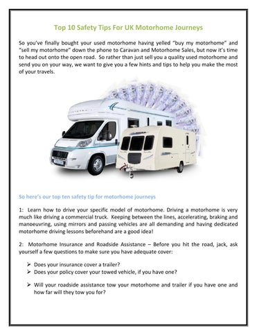Top 10 safety tips for uk motorhome journeys by Henry John - issuu