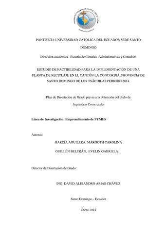 Estudio De Factibilidad Para La Implementacion De Una Planta De Reciclaje En El Canton La Concordia By Pontificia Universidad Catolica Del Ecuador Sede Santo Domingo Puce Sd Issuu