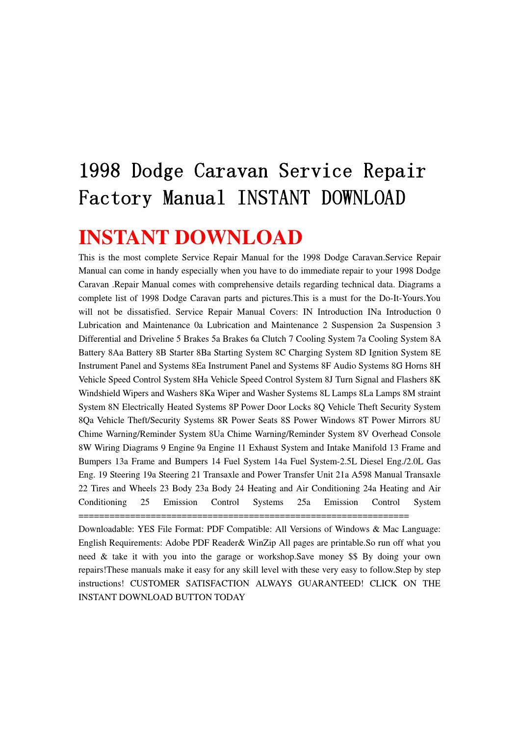 1998 dodge caravan service repair factory manual instant download by  jshenfnne - issuu