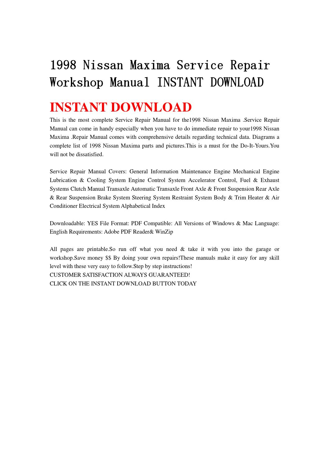1998 nissan maxima service repair workshop manual instant download by  jshenfnne - issuu
