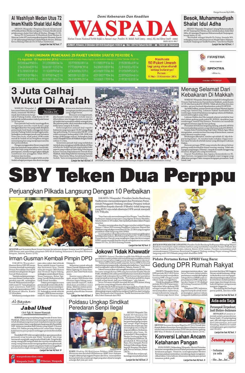 Waspada Jumat 3 Oktober 2014 By Harian Issuu Rkb Bni Tegal Kranjang Buah Nur Fashion And Art
