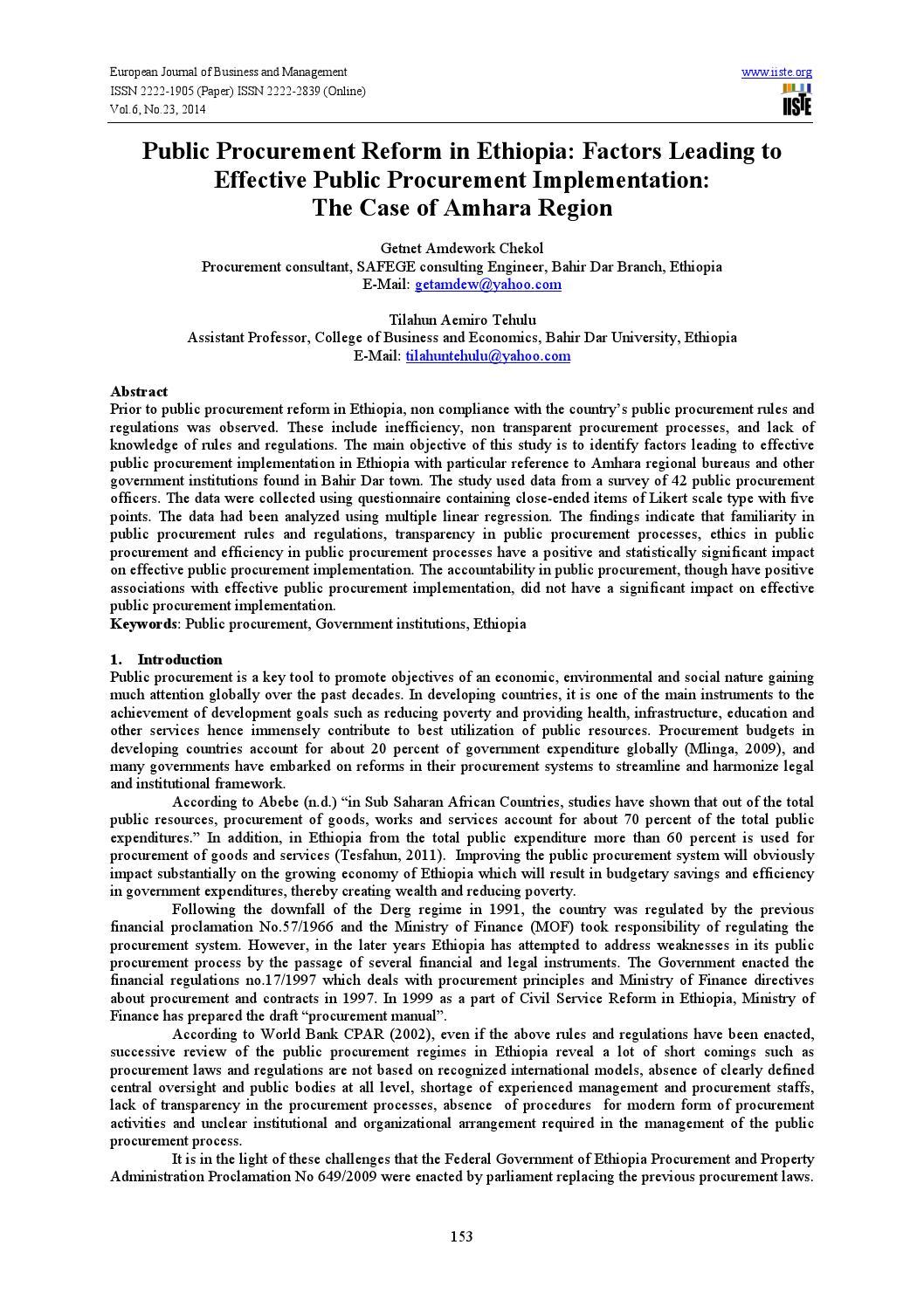 Public procurement reform in ethiopia by Alexander Decker