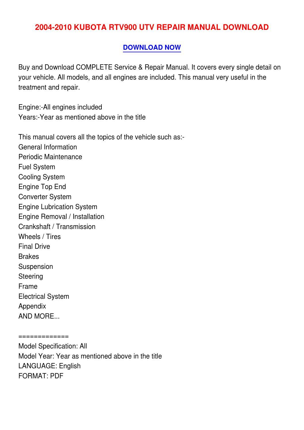 2004 2010 Kubota Rtv900 Utv Repair Manual Download By Countniglotan Rtv 900 Electrical Wiring Diagram Issuu