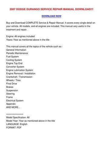 2007 dodge durango repair manual