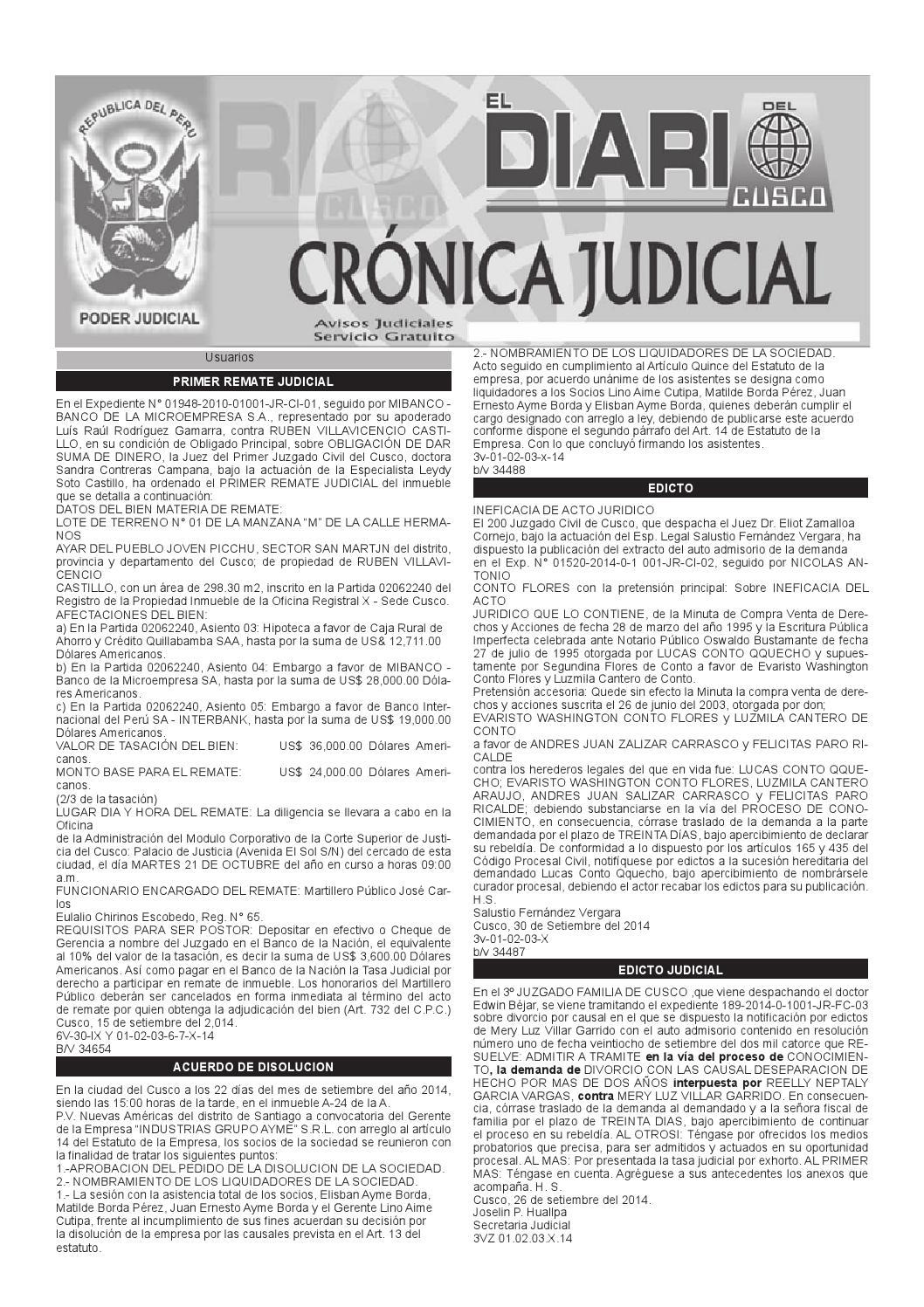 Avisos Judiciales 03 10 14 by El Diario del Cusco - issuu