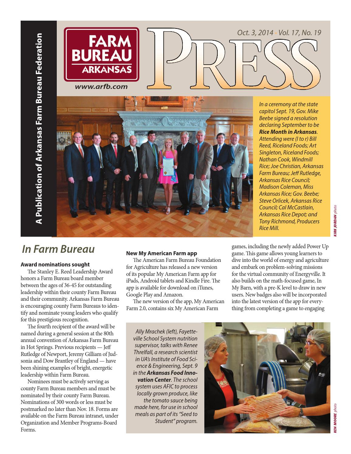 Farm Bureau Press - October 3, 2014 by Arkansas Farm Bureau - issuu