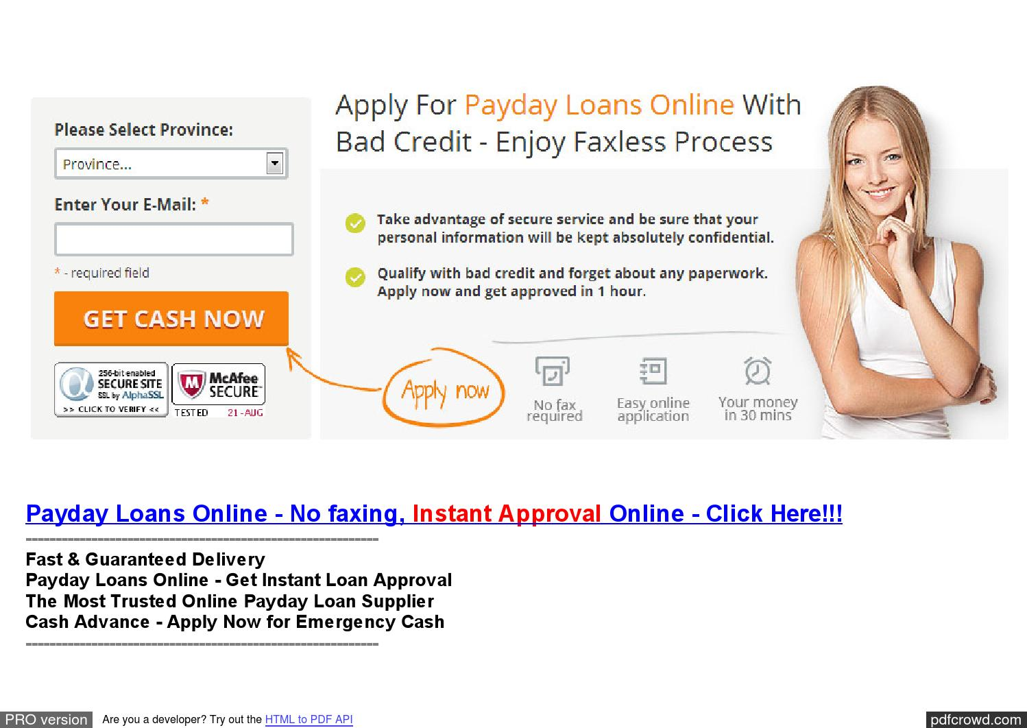 Instant Payday Loans 10 Acceptance : Instant Payday Loans People