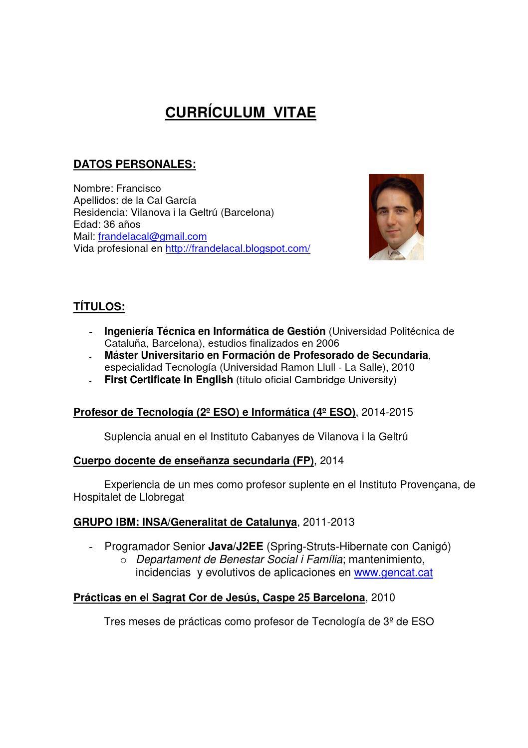 Curriculum vitae profesor fran de la cal by Francisco de la Cal - issuu