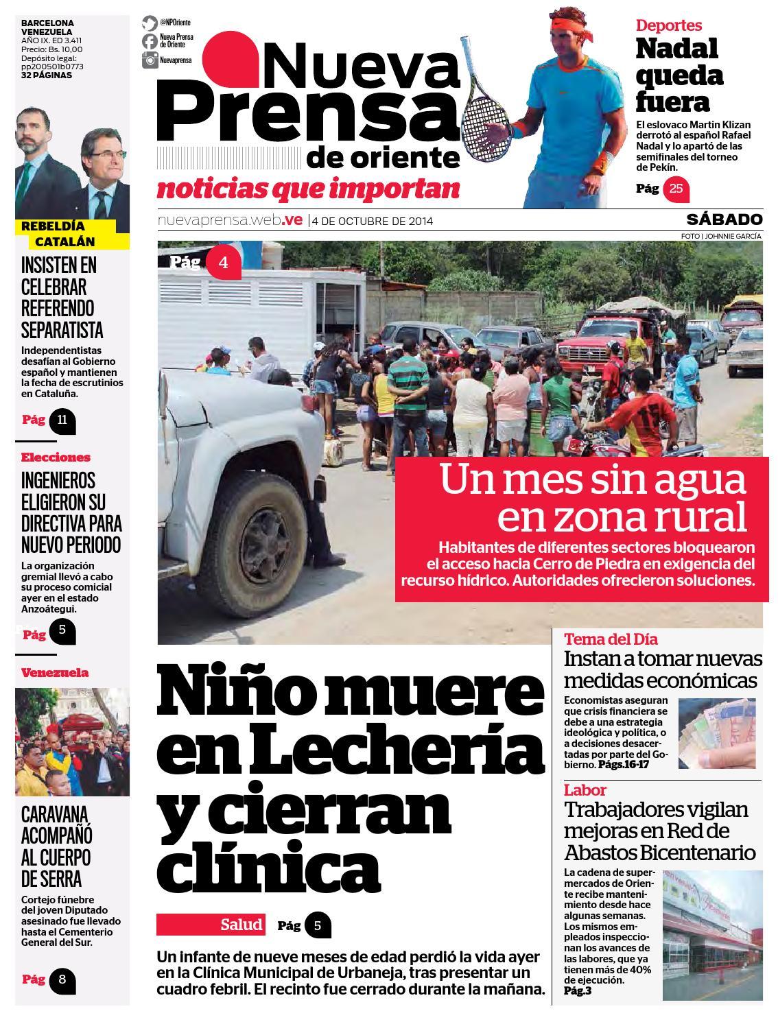 04 DE OCTUBRE DE 2014 by Nueva Prensa de Oriente - issuu