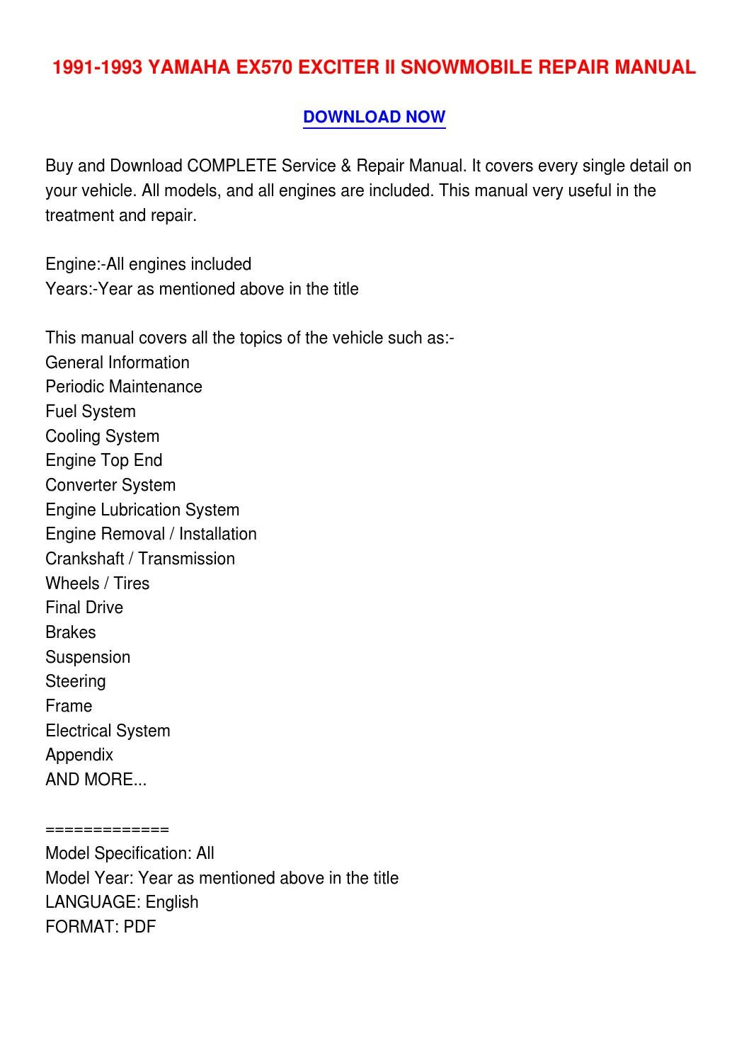 Yamaha exciter Ex570 service Manual