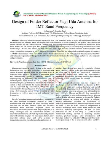 Design of Folder Reflector Yagi Uda Antenna for IMT Band Frequency