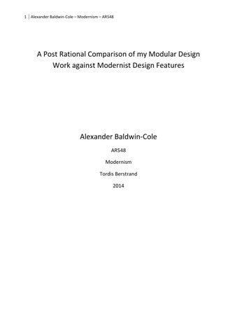 Modernism Essay By Alex Baldwincole  Issuu  Alexander Baldwincole  Modernism  Ar