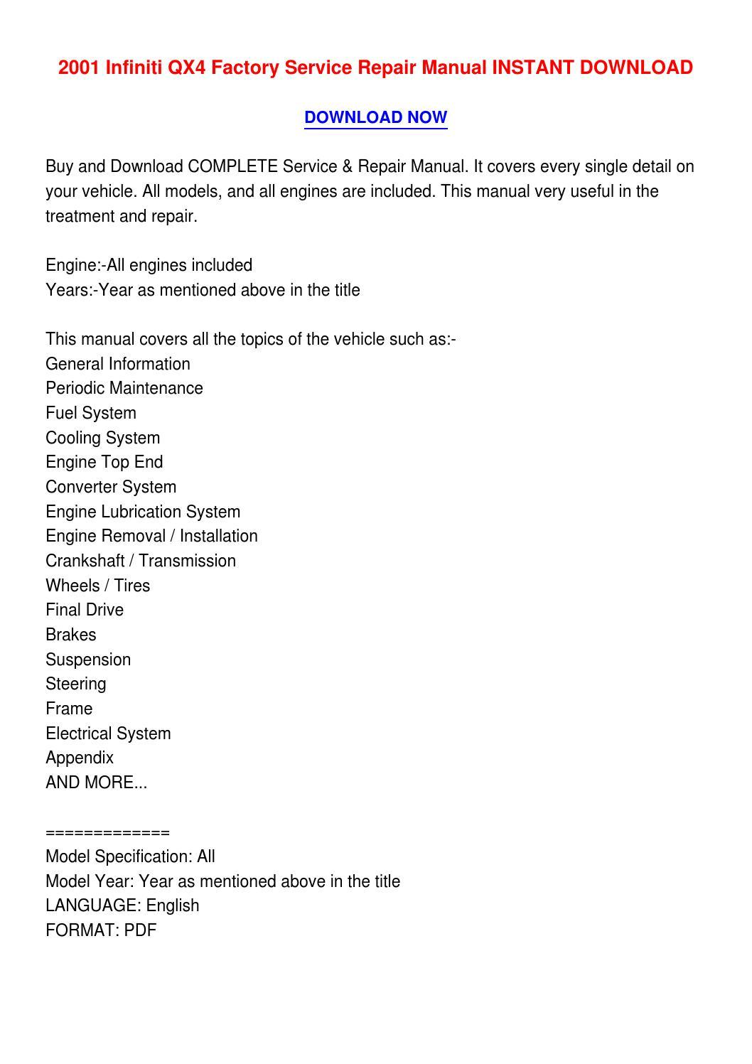 2001 Infiniti Qx4 Factory Service Repair Manual Instant