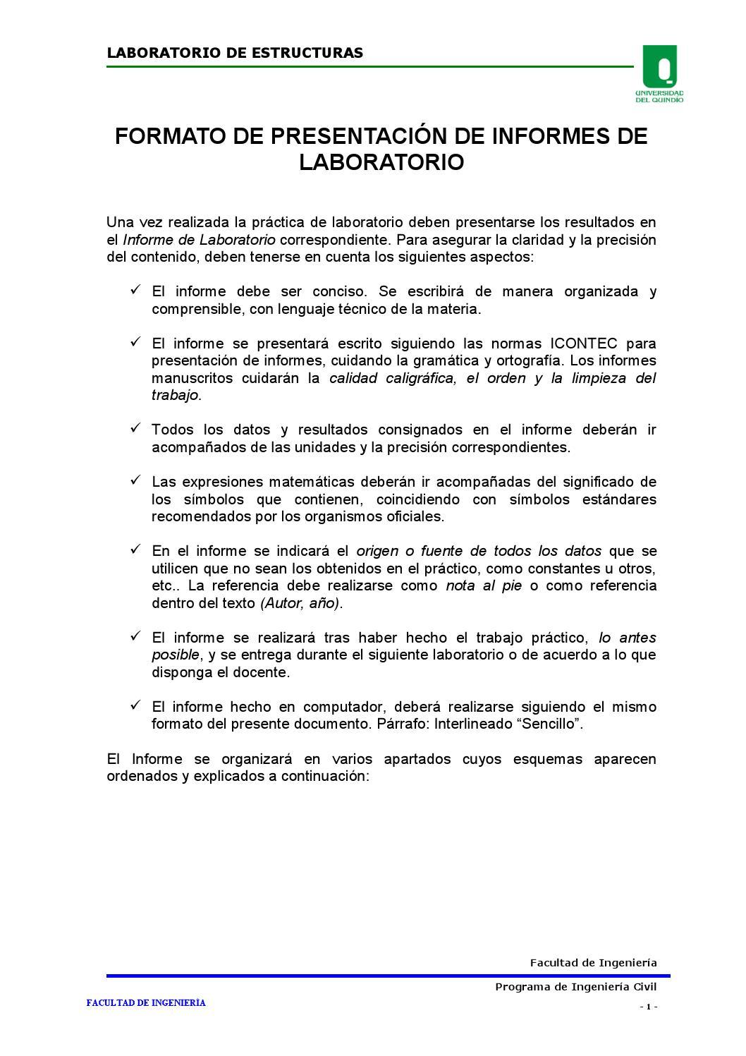 formato de presentaci u00f3n de informes de laboratorio by