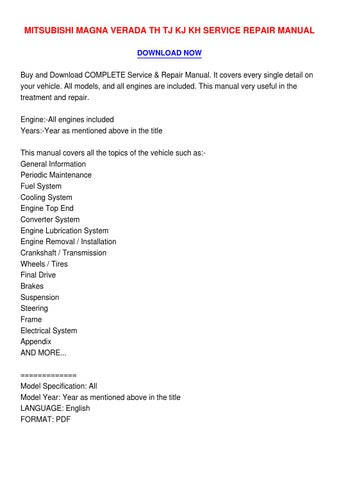 mitsubishi magna service manual pdf