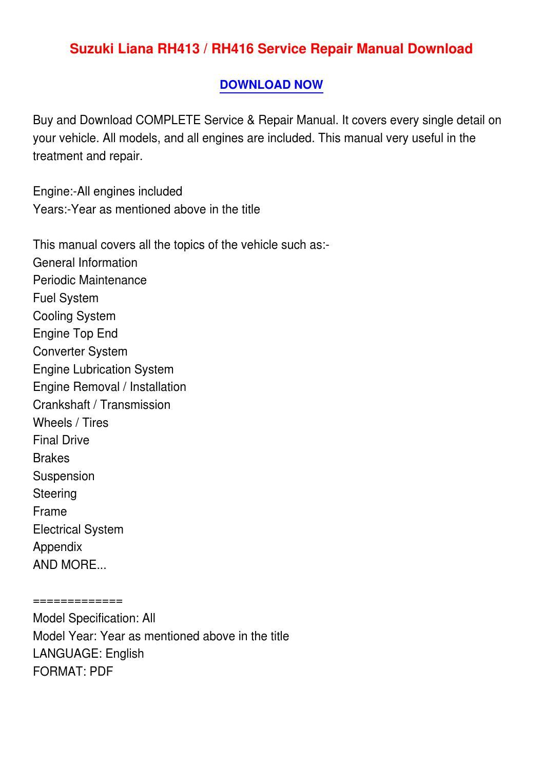 Suzuki Liana Rh413 Rh416 Service Repair Manual Download By