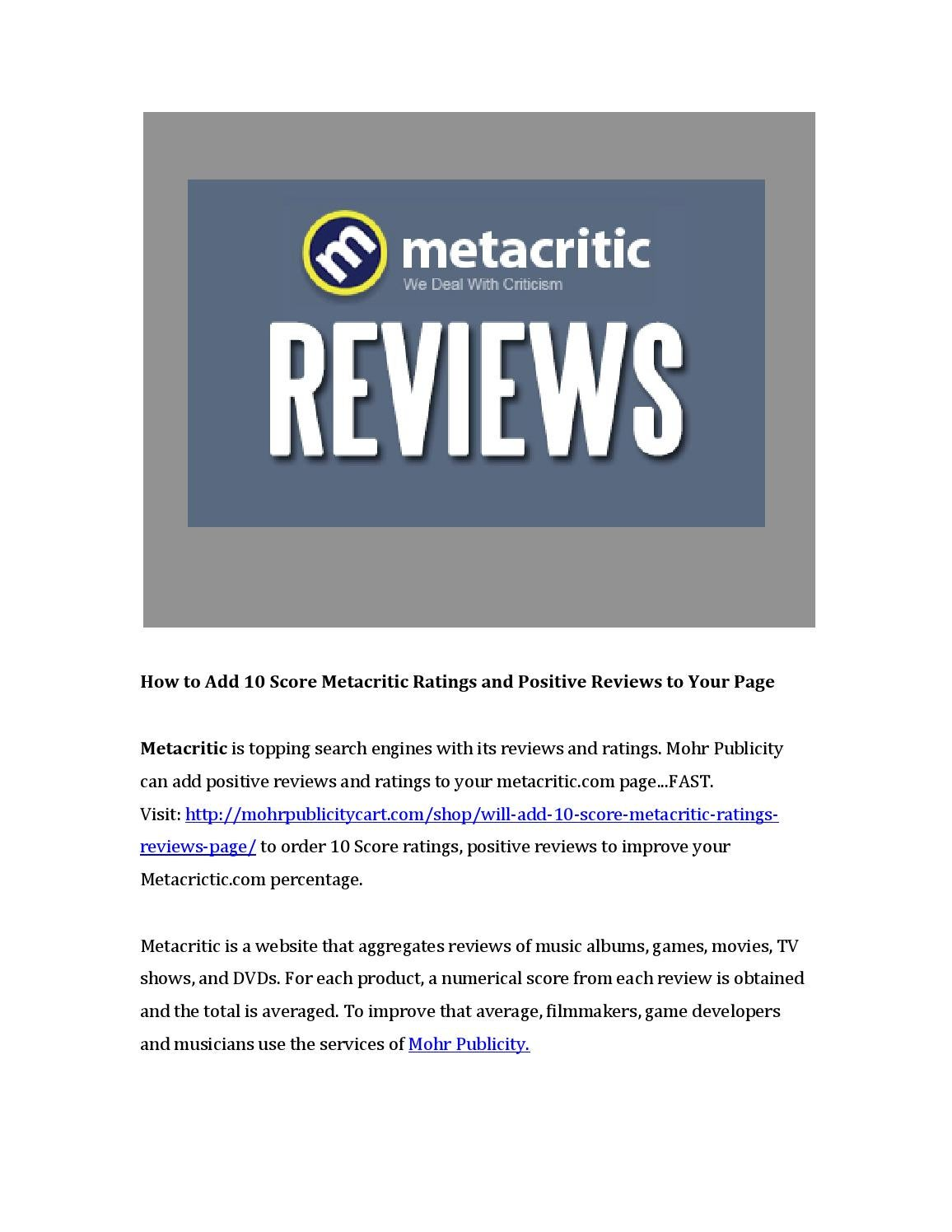 How to add 10 score metacritic ratings and positivereviews