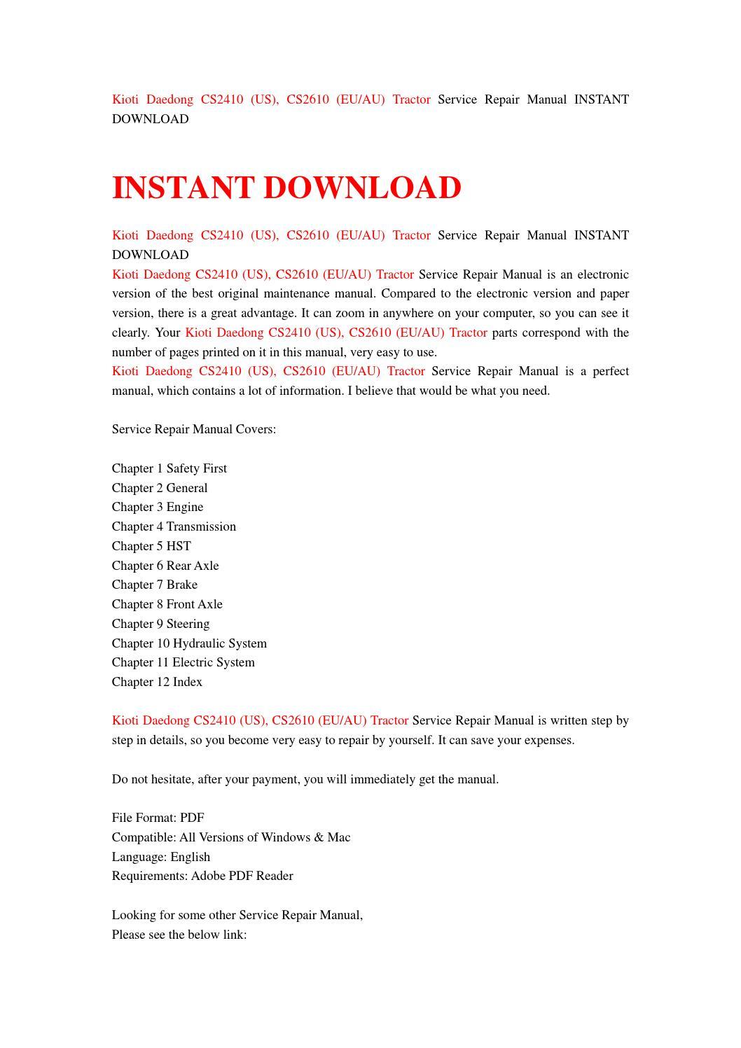 kioti daedong cs2410 cs2610 tractor workshop service repair manual 1 download