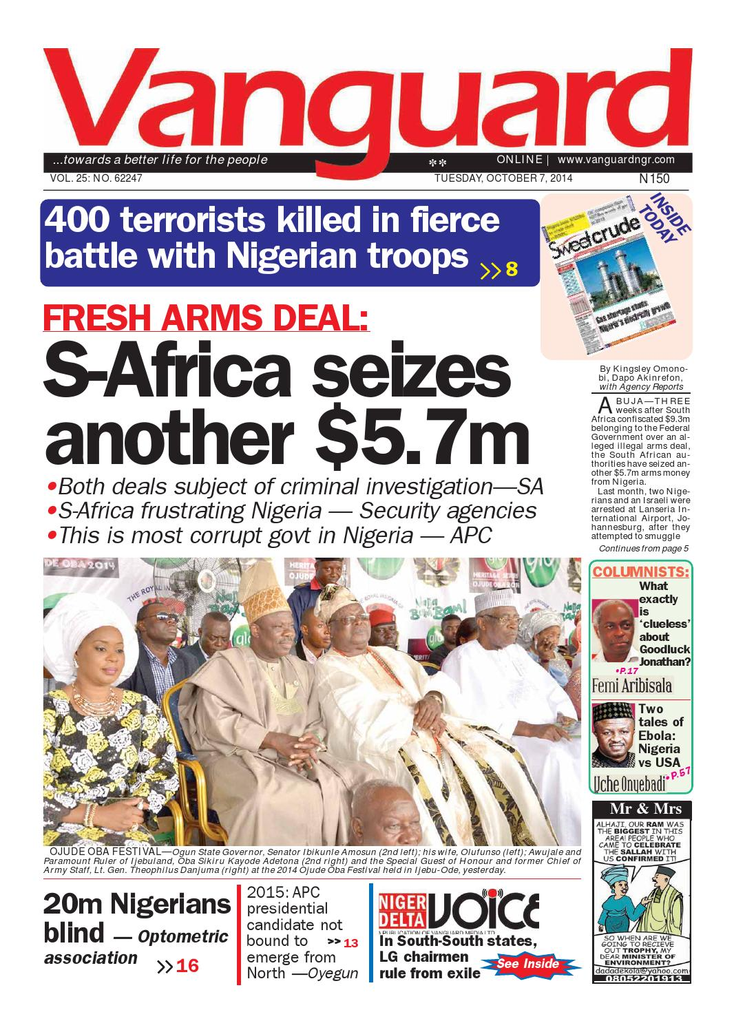 FRESH ARMS DEAL:S-Africa seizes another $5 7m by Vanguard