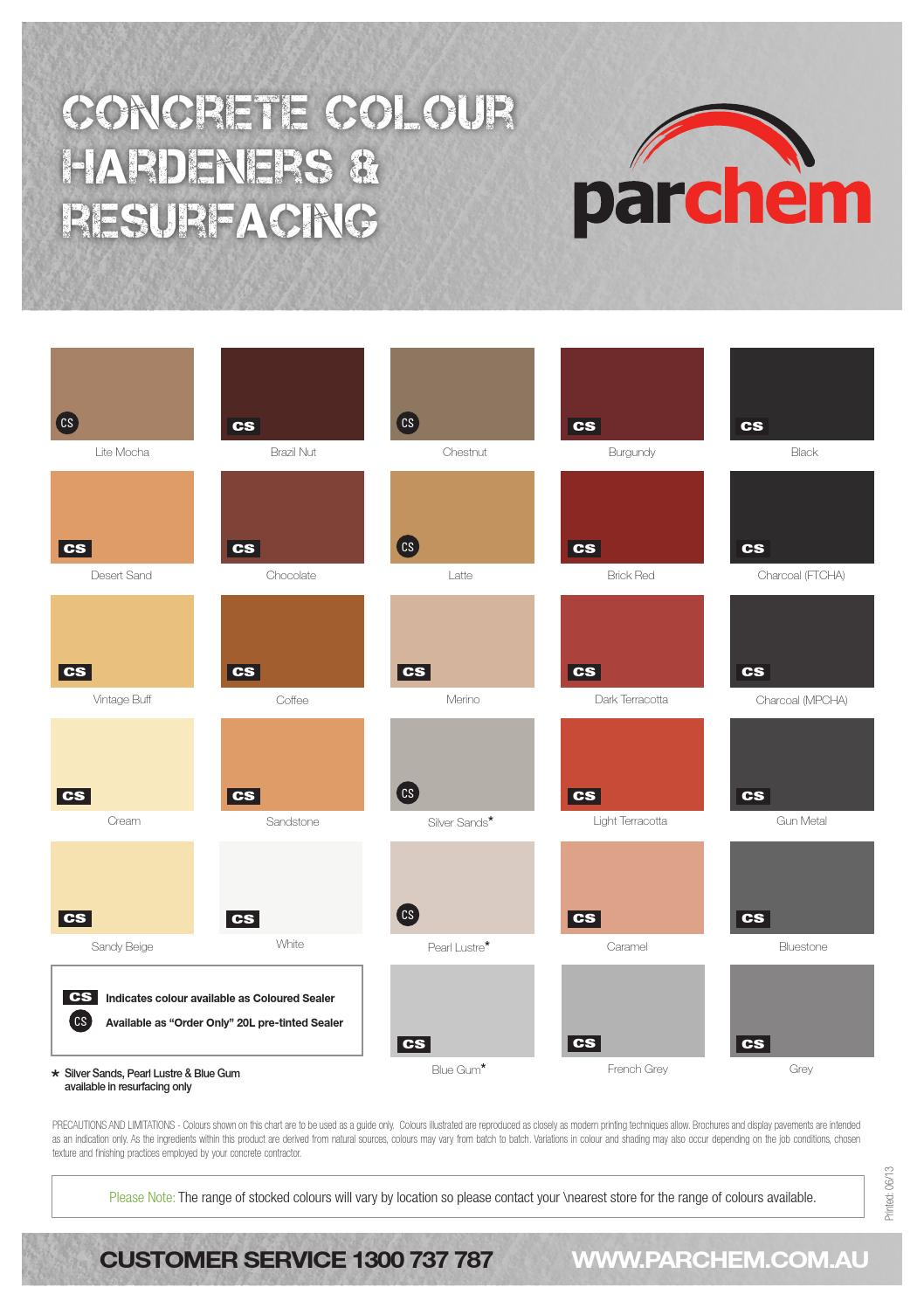 Parchem Colour Hardeners And Resurfacing Colour Chart By