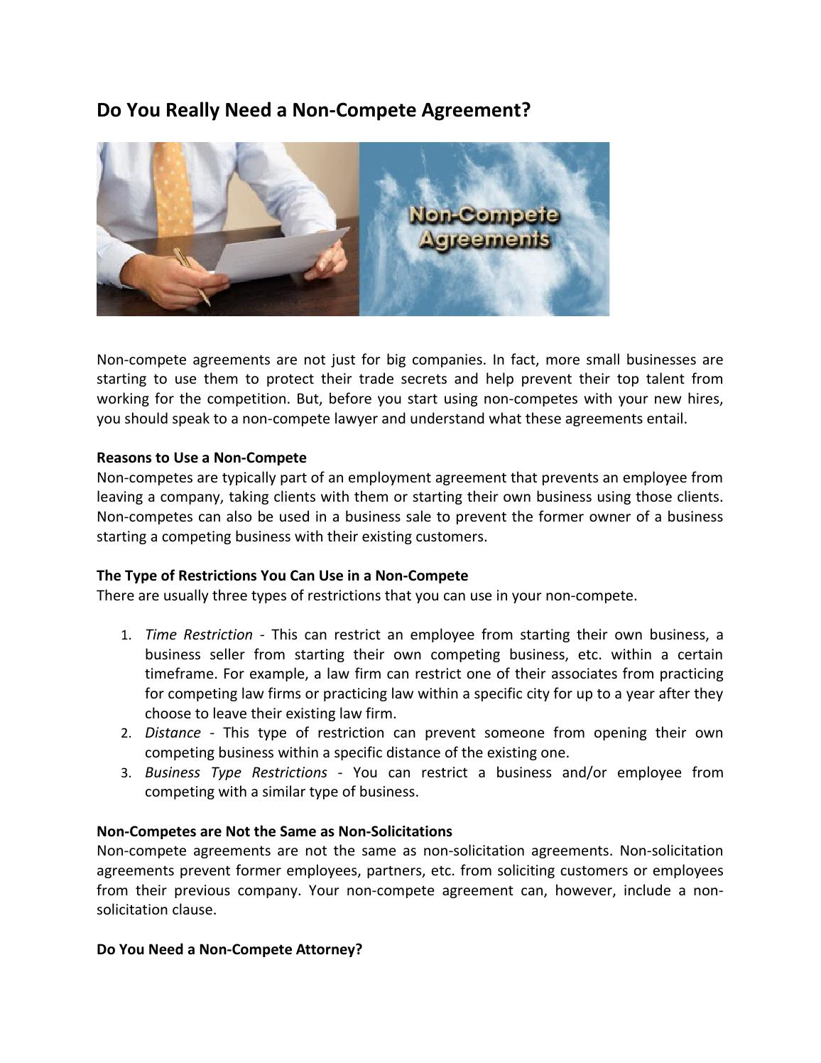 Do You Really Need A Non Compete Agreement By Kenziebahari Issuu