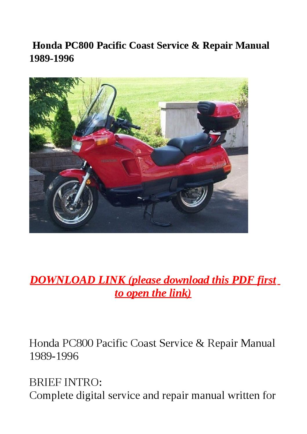 Honda pc800 pacific coast service & repair manual 1989 1996 by Sally Mool -  issuu