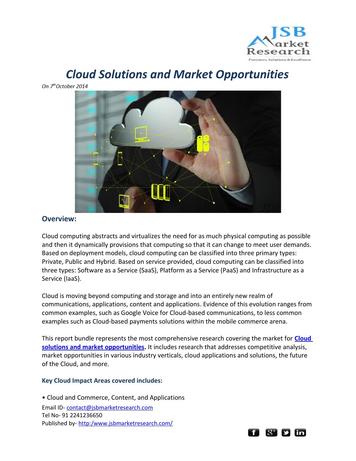 JSB Market Research Cloud solutions and market opportunities by