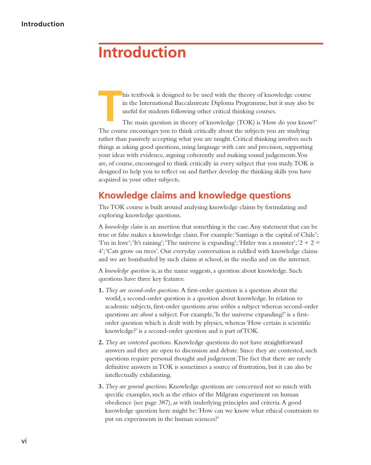 Theory of Knowledge for the IB Diploma (second edition) by