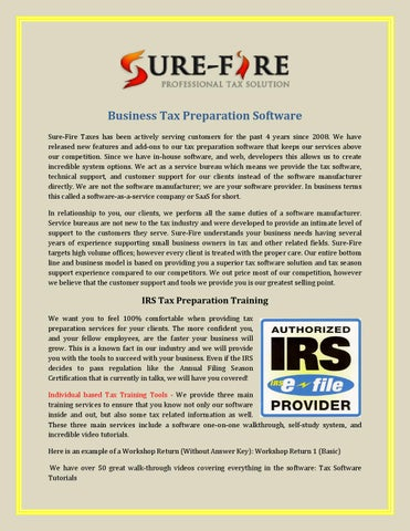 Business tax preparation software by surefiretaxes - issuu