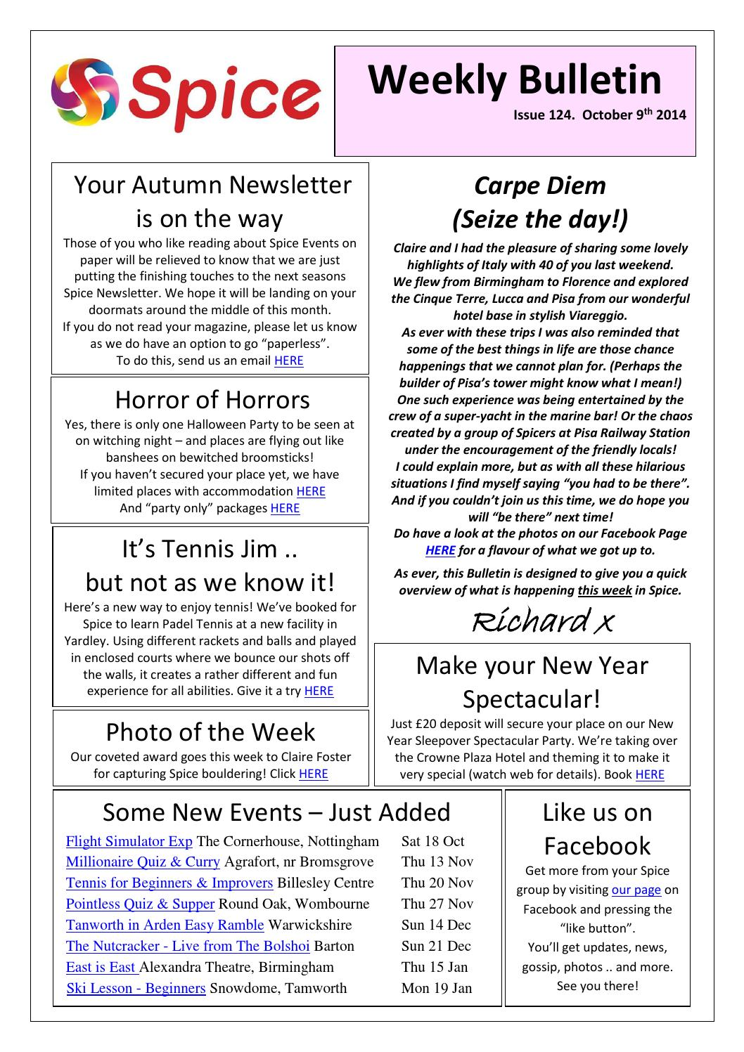 Spice West Mids Weekly Bulletin 9th October 2014 by Richard
