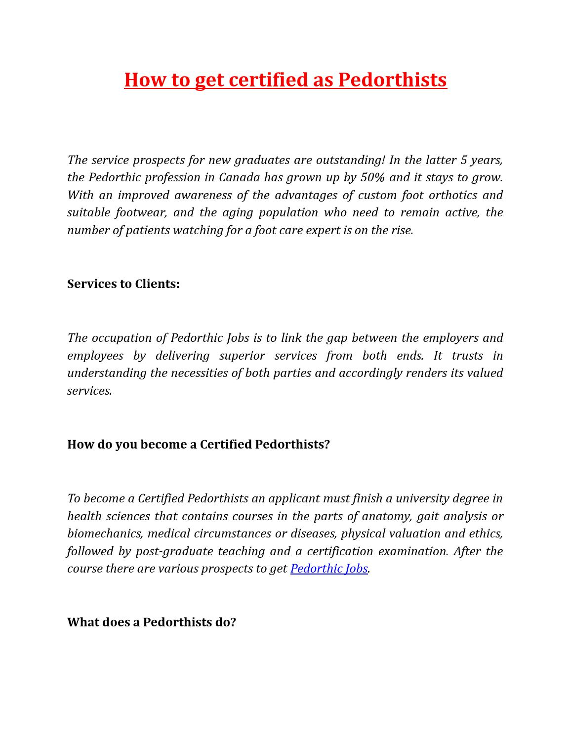 How To Get Certified As Pedorthists By Pedorthic Careers Issuu