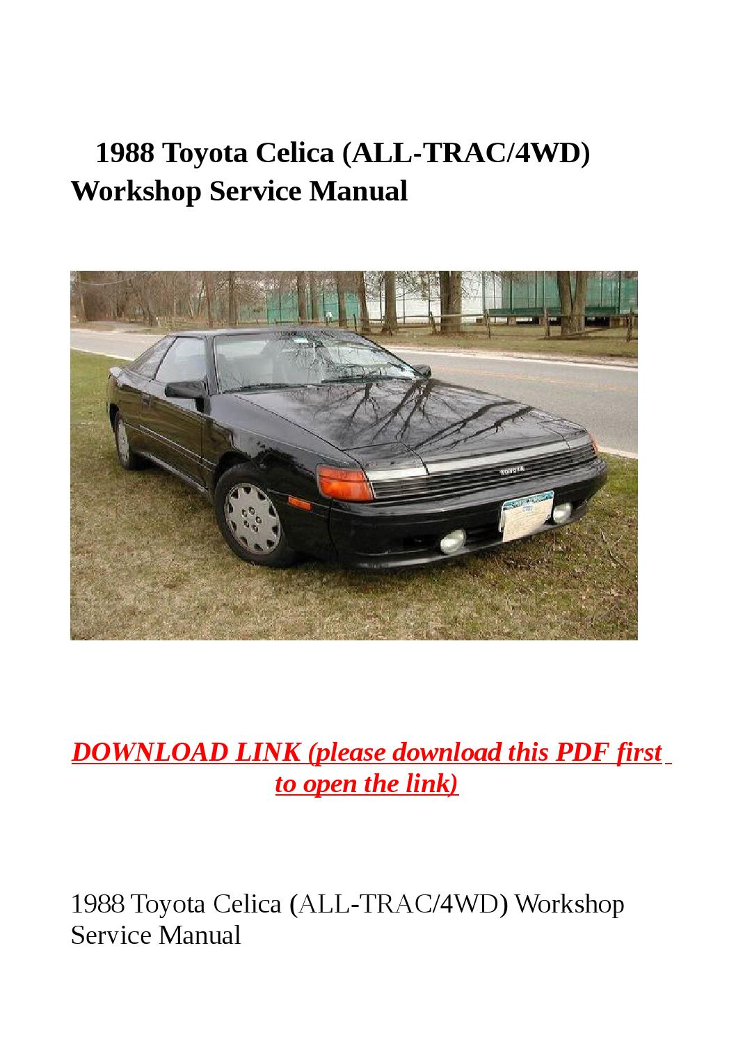 1988 Toyota Celica All Trac 4wd Workshop Service Manual By Sally Mool Issuu