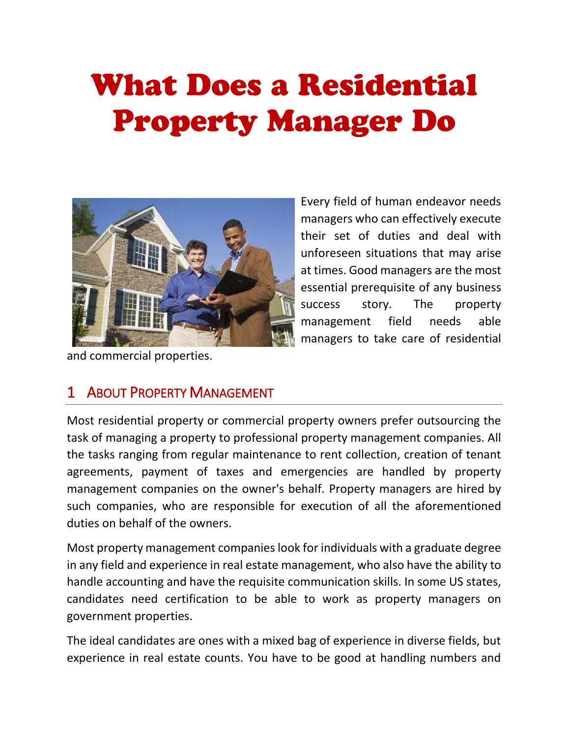 What Does A Residential Property Manager Do By Andylarings Issuu
