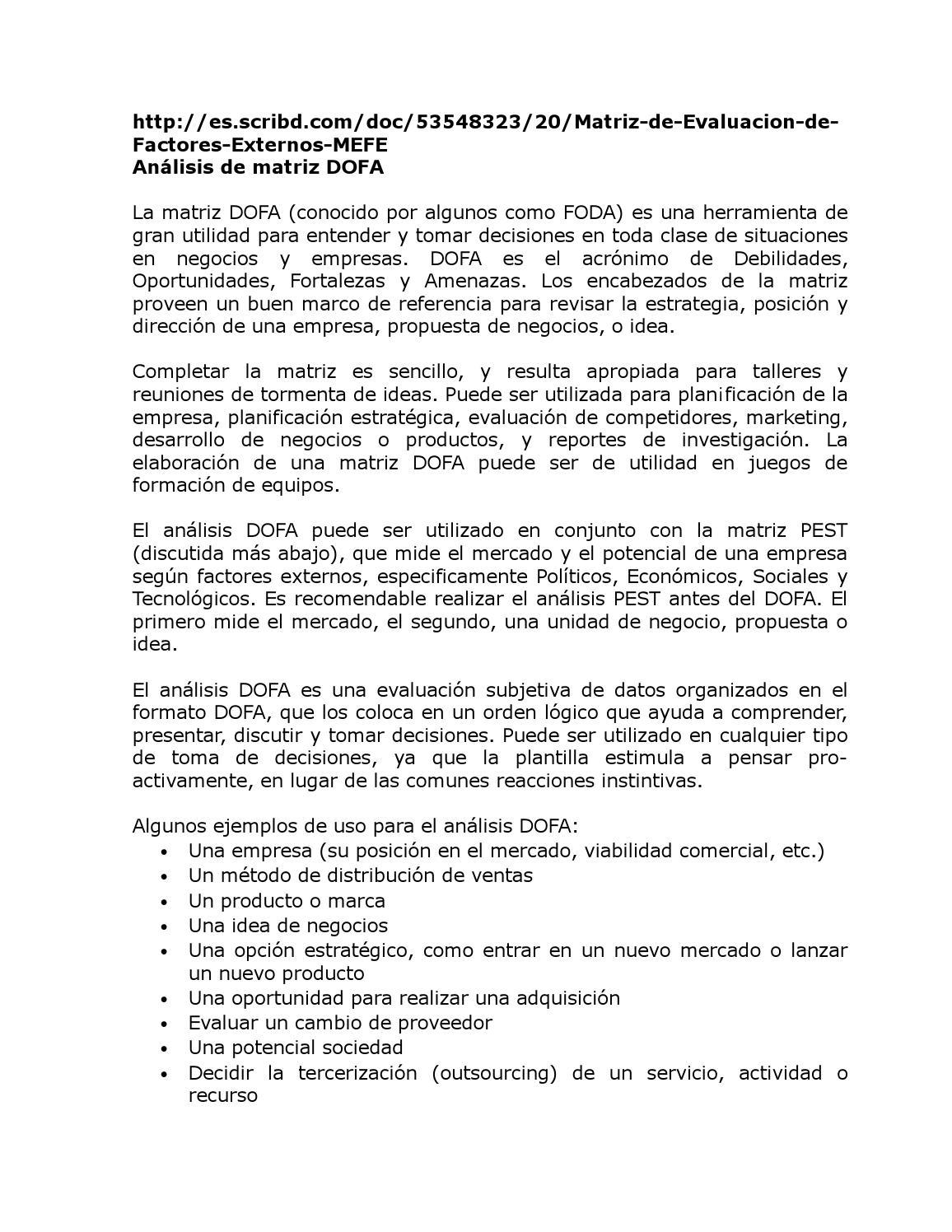 Análisis de matriz dofa y pest by Emmanuel Franco - issuu