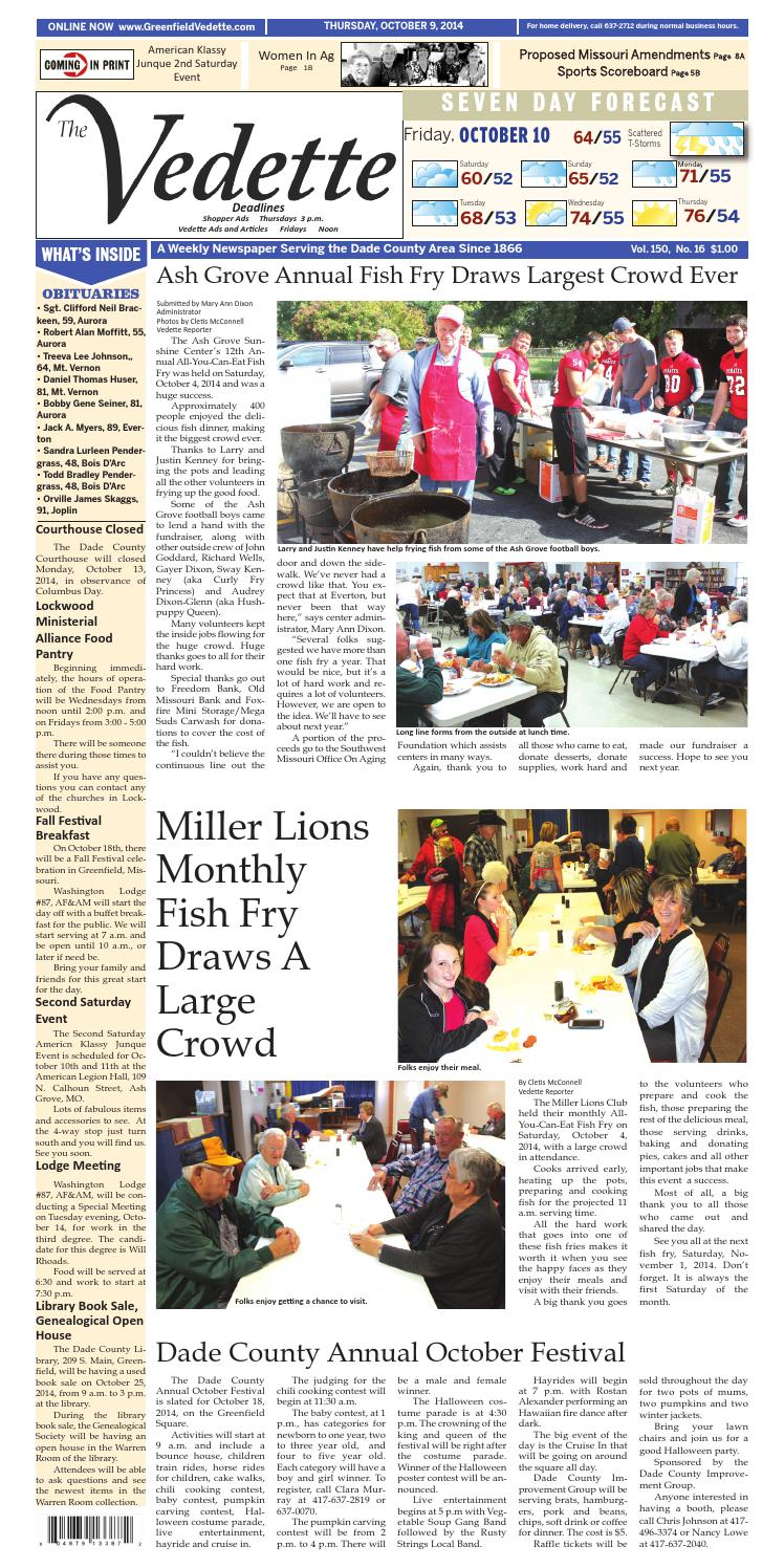 October 9 2014 Greenfield Vedette By Lewis County Press