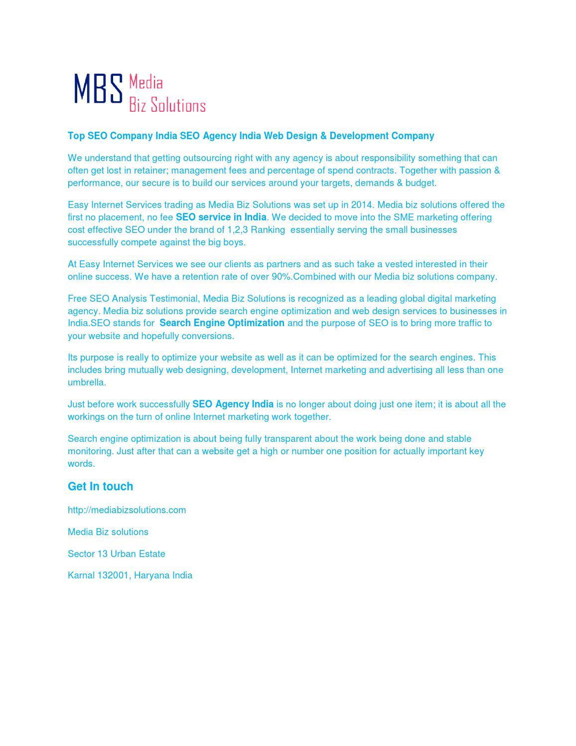 Seo Agency In India Seo Agency In Noida By Mediabiz Solutions Issuu