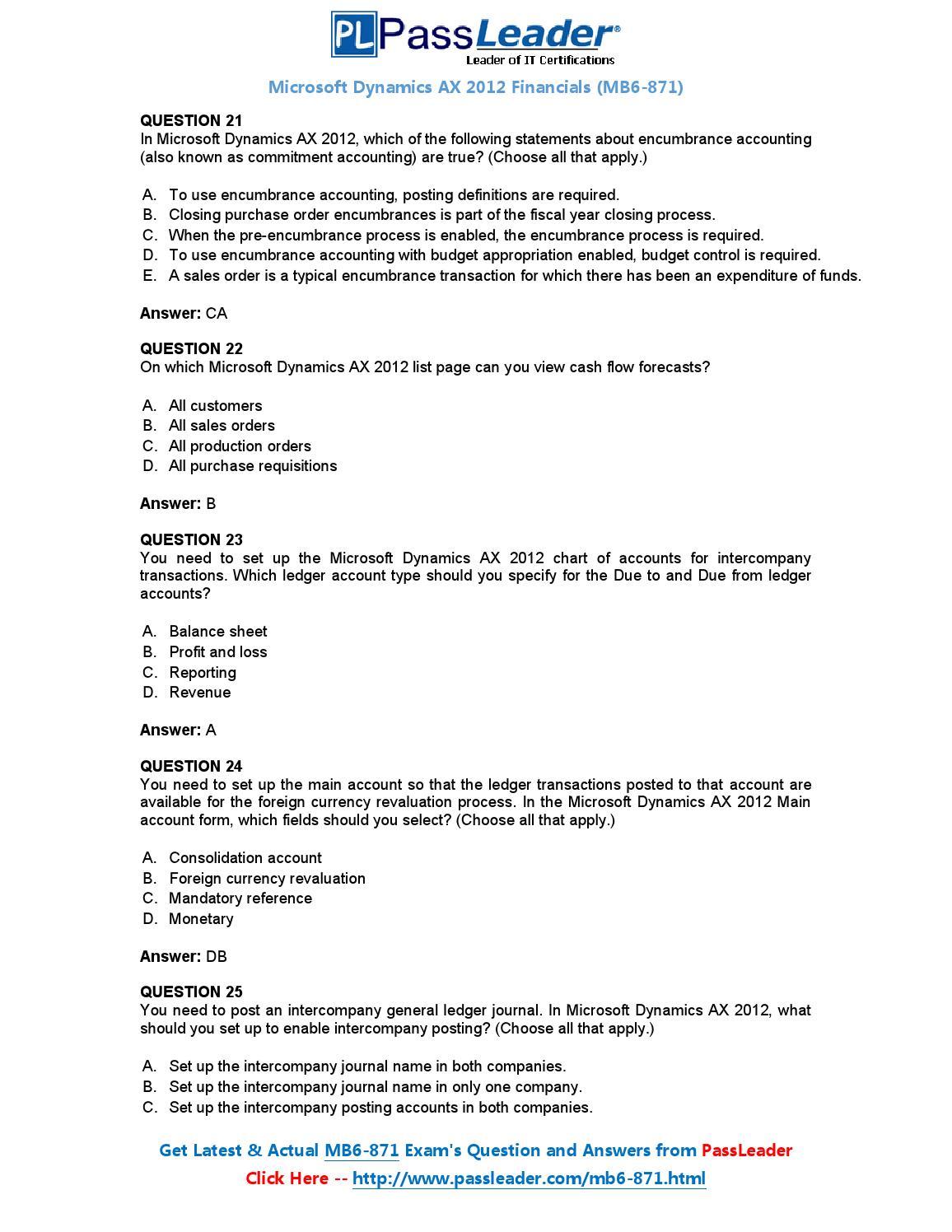 Microsoft Dynamics AX 2012 Financials exam dumps